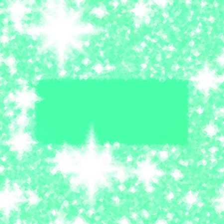 Abstract green white icy winter background with snow crystals, a highlighted border.