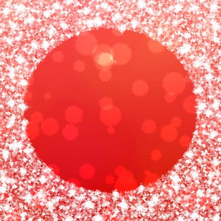 Abstract vibrant red white icy winter background with snow crystals, a highlighted round border.