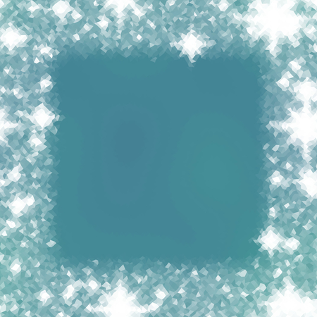 trapezium: Abstract icy winter background with snow crystals, a highlighted border. Illustration