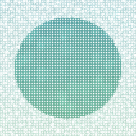 icy: Abstract spotted grid icy winter background with snow crystals, a circular highlighted border. Illustration