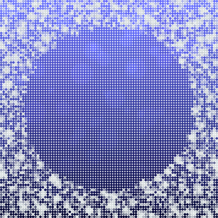 icy: Abstract spotted grid blue white icy winter background with snow crystals, a round highlighted border. Illustration