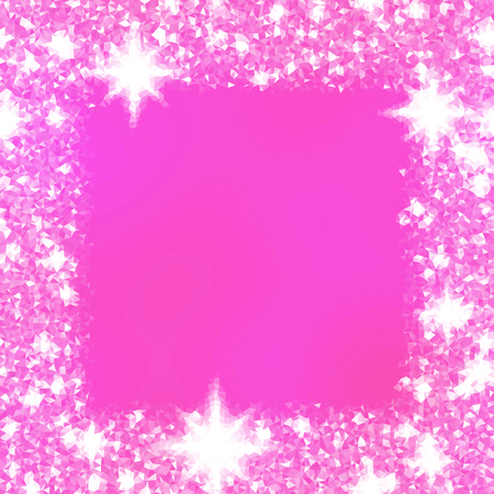 icy: Abstract triangular fuchsia white icy winter background with snow crystals, a highlighted border. Illustration