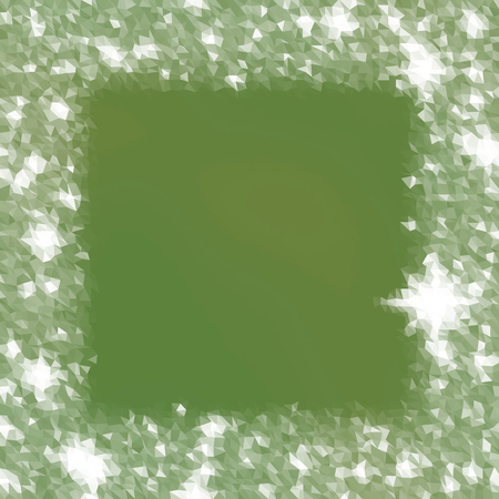 icy: Abstract polygonal green white icy winter background with snow crystals, a highlighted border.