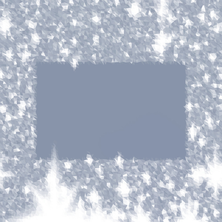 icy: Abstract triangular slate gray white icy winter background with snow crystals, a highlighted border. Illustration