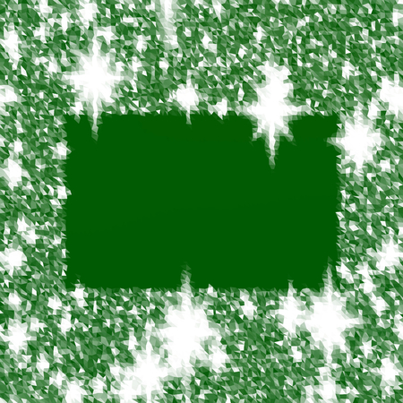 icy: Abstract fir green white triangular icy winter background with snow crystals, a highlighted rectangular border.