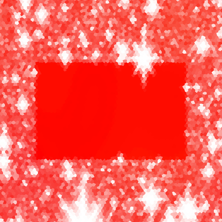 icy: Abstract red white hexagonal icy winter background with snow crystals, a oblong highlighted border.