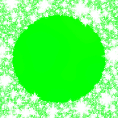icy: Abstract pea-green triangular icy winter background with snow crystals, a round highlighted border. Illustration