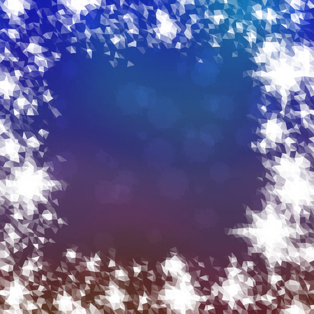 smoky mountains: Abstract icy winter background with snow crystals, a highlighted border. Illustration