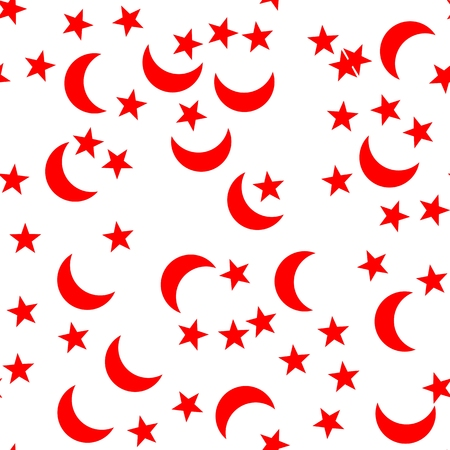 pentagram: Red crescent and pentagram star on a white background - seamless endless pattern on a Turkish theme