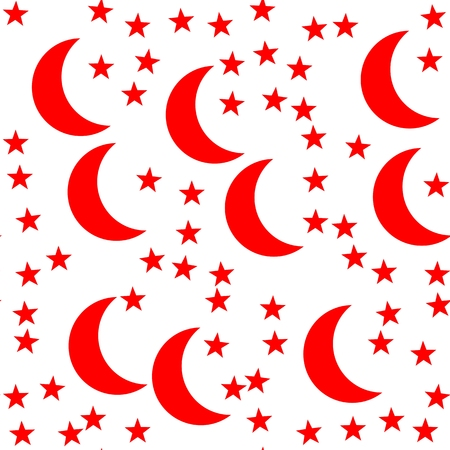 Red crescent and five-pointed star on a white background - seamless endless pattern on a Turkish theme Stock Photo