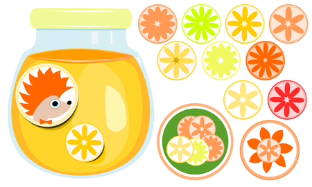 Closed glass with orange marmalade, marking labels hedgehog and orange. A set of round stickers with different kinds of citrus. Illustration