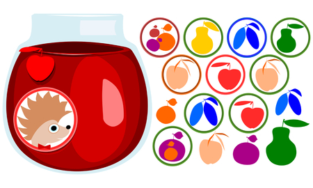tuck: Fruit stickers set. Hedgehog face with bow tie, label. Icons of apple, pear, apricot, plum, mirabelle cherry. Jar with jam. Illustration