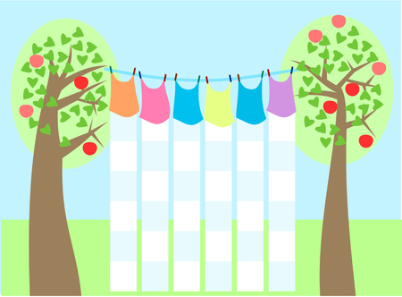 ripened: School timetable styled like laundry drying on a clothesline among the trees on which they are ripened apples. Without text. Simple stylized flat graphic.
