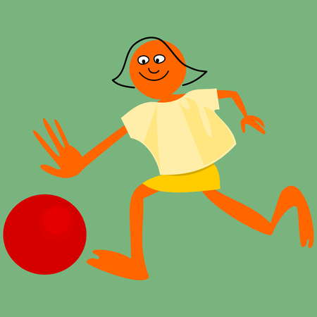 implied: Bald girl, with outline implied hair, running behind a balloon. Simple stylized cartoon drawing.