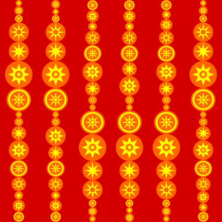 Retro red orange yellow tile with stylized suns