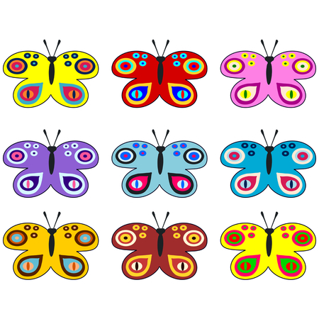 pale ocher: Set of colored decorative butterflies - usable as web icons or design elements or wallpaper, banner, poster, stickers or labels. Illustration