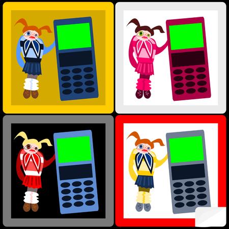short skirt: Red hair (blonde, brunette) girl in short pleated skirt with big cellular phone - stickers Illustration