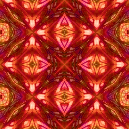 tile able: Abstract pink brown orange kaleidoscopic geometric floral starry seamless pattern in secession (art deco) style - digitally rendered tile able background