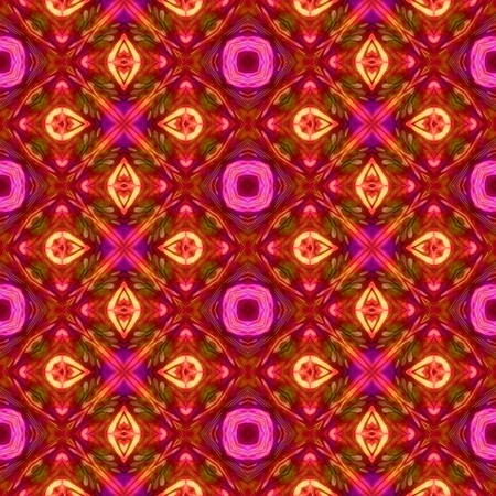 Abstract pink red orange kaleidoscopic geometric floral starry seamless pattern in secession (art deco) style - digitally rendered tile able background
