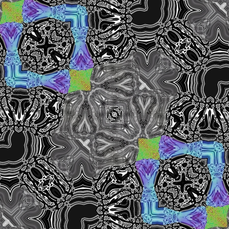 tile able: Abstract black white gray blue green kaleidoscopic geometric floral starry pattern in secession (art deco) style - digitally rendered tile able background Stock Photo