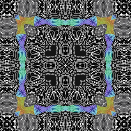 tile able: Abstract kaleidoscopic geometric floral starry pattern in secession (art deco) style - digitally rendered tile able background