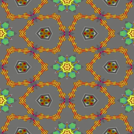 tile able: Abstract kaleidoscopic geometric floral starry seamless pattern in secession (art deco) style - digitally rendered tile able background Stock Photo