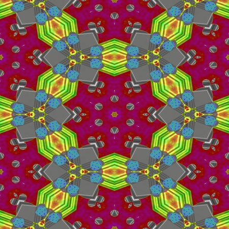tile able: Abstract red gray blue yellow green orange kaleidoscopic geometric floral starry seamless pattern in secession (art deco) style - digitally rendered tile able background Stock Photo