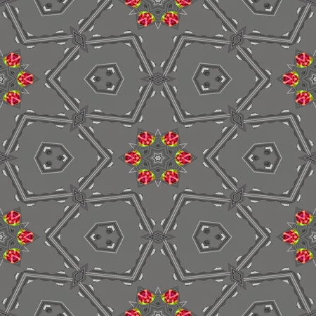 tile able: Abstract red yellow orange gray silver kaleidoscopic geometric floral starry seamless pattern in secession (art deco) style - digitally rendered tile able background