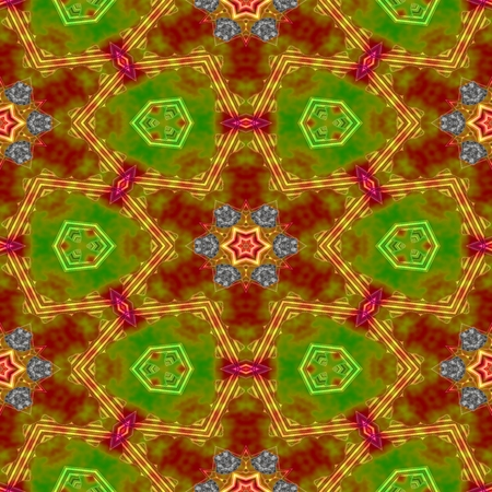 tile able: Abstract green orange brown ocher red gray kaleidoscopic geometric floral starry seamless pattern in secession (art deco) style - digitally rendered tile able background