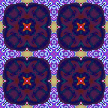 tile able: Abstract purple violet blue red yellow kaleidoscopic geometric floral starry seamless pattern in secession (art deco) style - digitally rendered tile able background