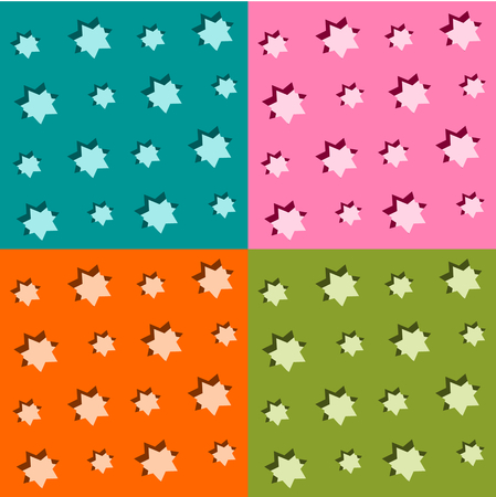 tonality: Set of seamless starry backgrounds - four monochrome patterns with pruned stars - or usable as colorful checkered design Illustration