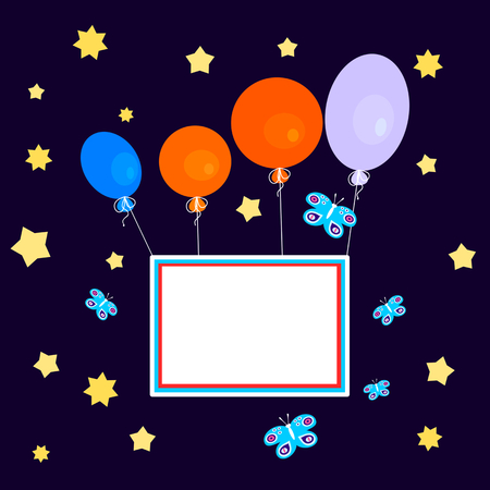 carry on: Greeting Card - congratulation - a stylized sky full of stars, with colorful balloons that carry a blank sign.
