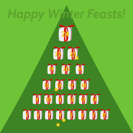 feasts: December calendar for advent and Christmas. Small gifts, with red ribbon, numbered days 1 to 24, arranged in pyramid.On green background outlined tree silhouette. Inscription Happy winter feasts.