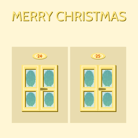 frosted: Two closed windows with handle, frosted glass panes, above the windows are numbers 24 and 25. Above the inscription Merry Christmas. Composition on Advent theme in slightly yellow and blue colors.