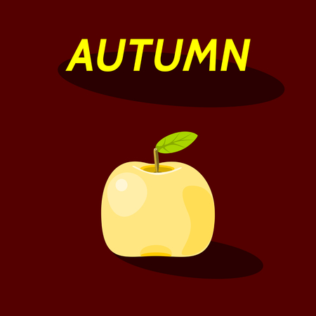 yellow apple: Yellow apple fruit with inscription autumn, oval shadow, on dark red background Illustration