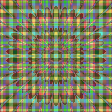 backcloth: Abstract iridescent tile with checkered pattern and centralized shining flower