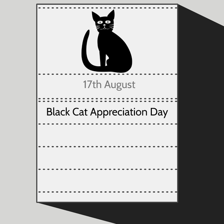 burmese: Black Cat Appreciation Day - Stylized calendar letter of 17th August with sitting tomcat silhouette. Black white gray cartoon illustration.