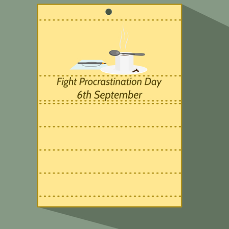 6th: Fight Procrastination Day - Stylized calendar page of 6th september with pencil on letter, cup of coffee. Colorful cartoon illustration.
