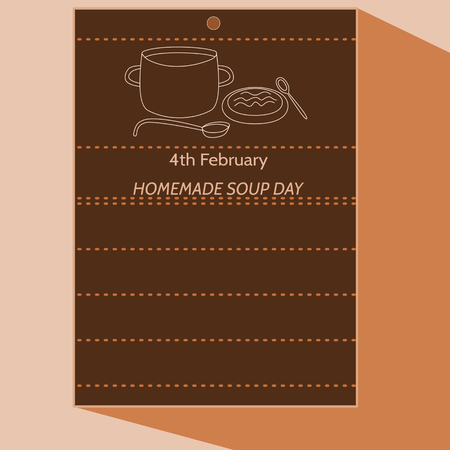 broth: 4th February - Homemade Soup Day - simple stylized cartoon drawing of calendar letter with pot, ladle, plate, spoon, soup. In dark brown hue. Illustration