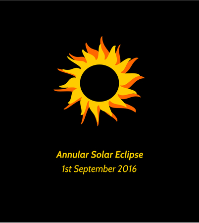 annular: Postcard or banner with simple stylized illustration and inscription Annular Solar Eclipse 1st September 2016 in yellow orange and black colors.