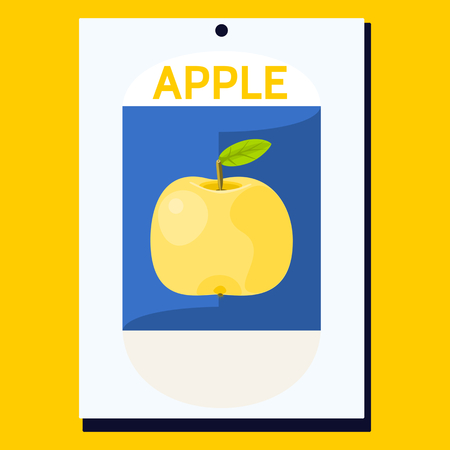 yellow apple: Yellow apple with green leaf on blue background on white card with inscription Apple. Simple decorative card for various occasions.