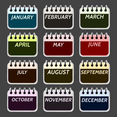 spiral binding: Simple collection of calendar months icons. Digitally illustration.