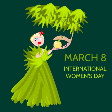 Cute blonde draped with leaves and grass, taking an apple from the serpent. Inscription March 8. International Womens Day.