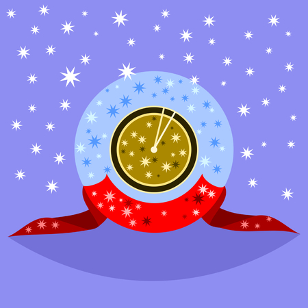 starlit: Decorative fantasy gold clock showing shortly after noon or midnight, decorated with a red ribbon on a blue background. Many small stars. Illustration