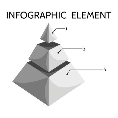 pyramidal: Gray black white three-tiered pyramidal chart with inscription Infographic element Illustration