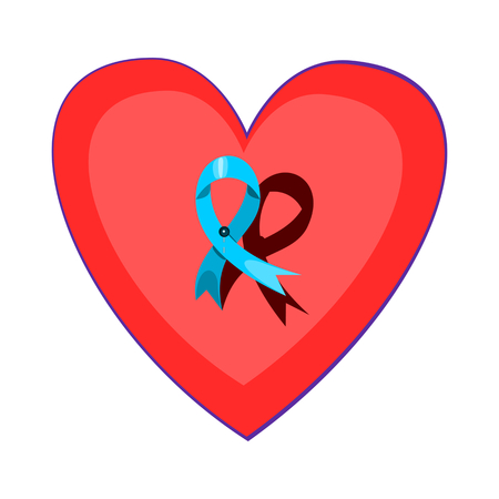 Blue ribbon pinned on a red heart