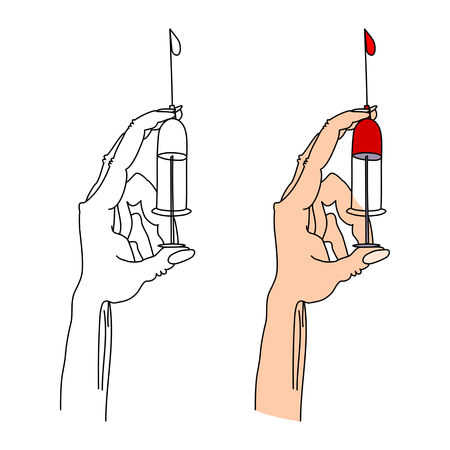 Hand holding a syringe tip up thumb squeeze excess air with a drop of liquid. A typical hand movement medic. Stylized digital artwork.