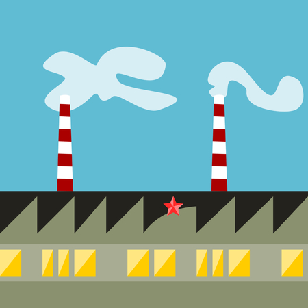 horizontally: Edging, factory with red white striped smoking chimneys, pentagram, symbol of communism, retro-style constructive socialist realism. Seamless horizontally pattern.