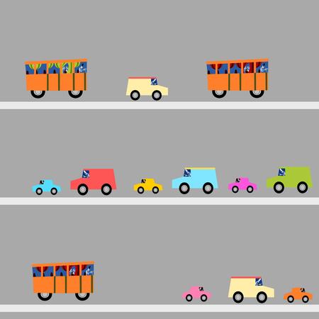 Kleurrijke auto's en bussen op de snelweg. Chauffeurs en passagiers zijn skeletten. Grappig naadloze, Halloween behang. Stock Illustratie