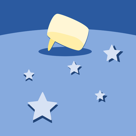 communication cartoon: Primitive abstract background with cartoon communication bubble and stars Illustration